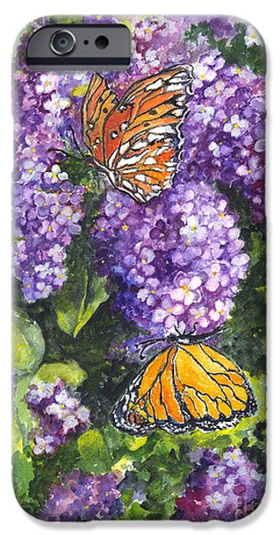 Lilacs Drawings iPhone Cases - Butterflies and Lilacs iPhone Case by Carol Wisniewski