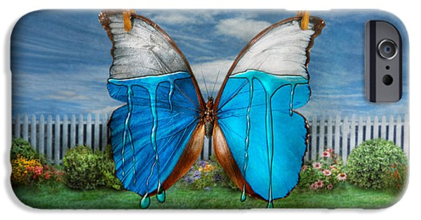 Suburban Digital Art iPhone Cases - Butterfly - Morpho - I hate it when the colors run iPhone Case by Mike Savad