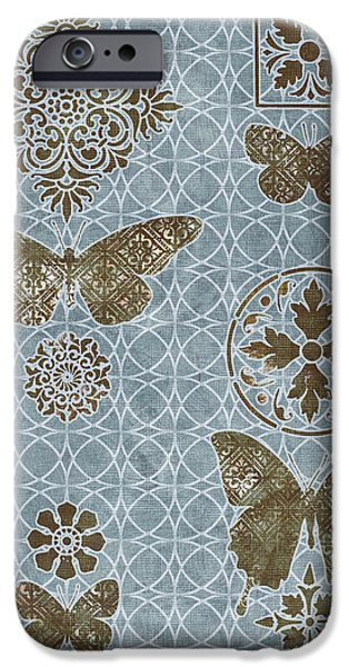 Carpet iPhone Cases - Butterfly Deco 1 iPhone Case by JQ Licensing