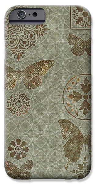 Carpet iPhone Cases - Butterfly Deco 2 iPhone Case by JQ Licensing