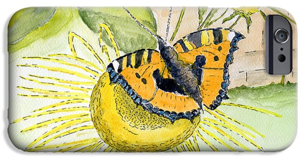 Wild Life Drawings iPhone Cases - Butterfly iPhone Case by Eva Ason