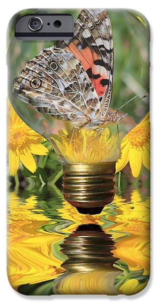 Butterfly In A Bulb II iPhone Case by Shane Bechler