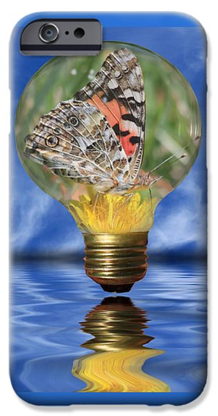 Photographs Mixed Media iPhone Cases - Butterfly In Lightbulb iPhone Case by Shane Bechler