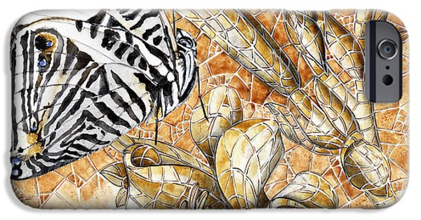 Close Up Drawings iPhone Cases - Butterfly Mosaic 02 Elena Yakubovich iPhone Case by Elena Yakubovich