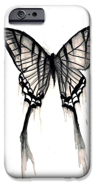Michael Mixed Media iPhone Cases - Butterfly Tears 2 iPhone Case by Mike Grubb