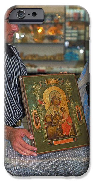 Negotiating iPhone Cases - Buying icon in Jerusalem iPhone Case by Carl Purcell