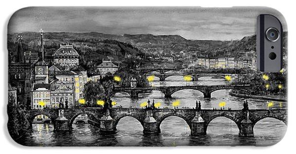 Charles Bridge iPhone Cases - BW Prague Bridges iPhone Case by Yuriy  Shevchuk