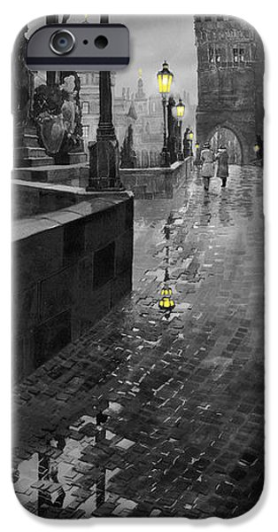 Landscapes Digital Art iPhone Cases - BW Prague Charles Bridge 01 iPhone Case by Yuriy  Shevchuk