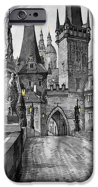 Charles Bridge iPhone Cases - BW Prague Charles Bridge 02 iPhone Case by Yuriy  Shevchuk