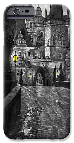 Landscapes Digital Art iPhone Cases - BW Prague Charles Bridge 03 iPhone Case by Yuriy  Shevchuk