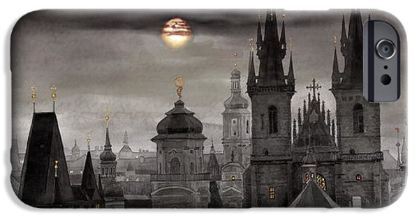Landscapes Digital Art iPhone Cases - BW Prague City of hundres spiers iPhone Case by Yuriy  Shevchuk