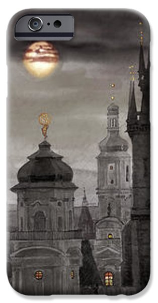 BW Prague City of hundres spiers iPhone Case by Yuriy  Shevchuk