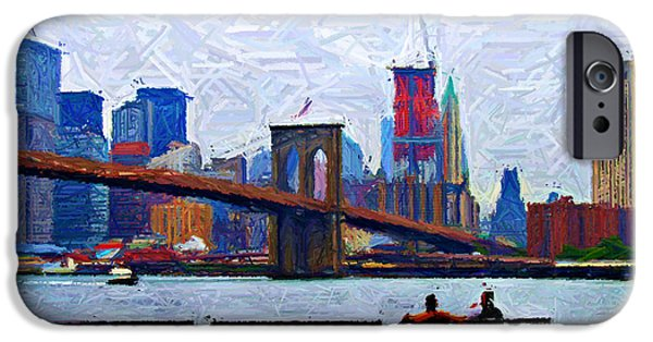 Brooklyn Bridge Digital Art iPhone Cases - By the Water Too Sketch iPhone Case by Randy Aveille