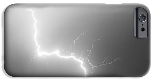 Striking Photography iPhone Cases - C2G Lightning Strike in Black and White iPhone Case by James BO  Insogna