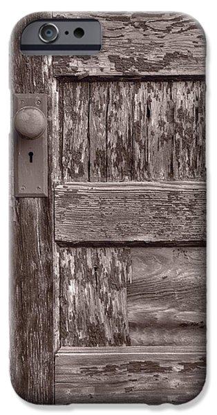 Cabin Door BW iPhone Case by Steve Gadomski
