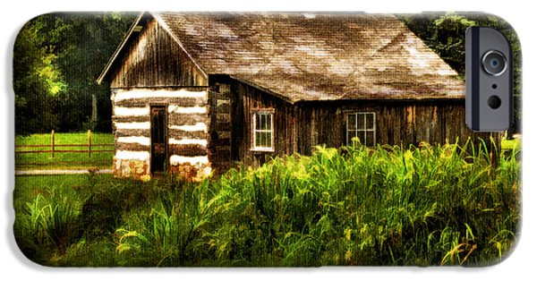 Cabin Window Digital Art iPhone Cases - Cabin In The Woods iPhone Case by Lois Bryan