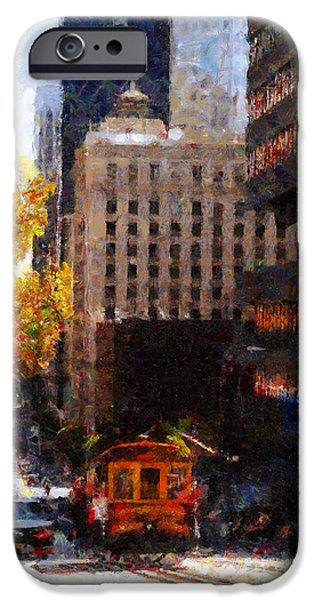 Bay Bridge iPhone Cases - Cablecar on San Francisco California Street  . Painterly . 7D7176 iPhone Case by Wingsdomain Art and Photography