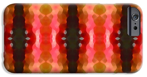 Abstract Digital Art iPhone Cases - Cactus Vibrations 2 iPhone Case by Amy Vangsgard