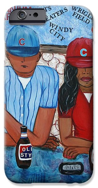 Chicago Cubs Mixed Media iPhone Cases - Cafe Americana - Chicago  iPhone Case by Victoria  Johns