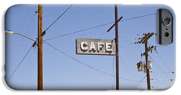 Electrical Equipment Photographs iPhone Cases - Cafe Sign Power And Telephone Cables iPhone Case by Bryan Mullennix