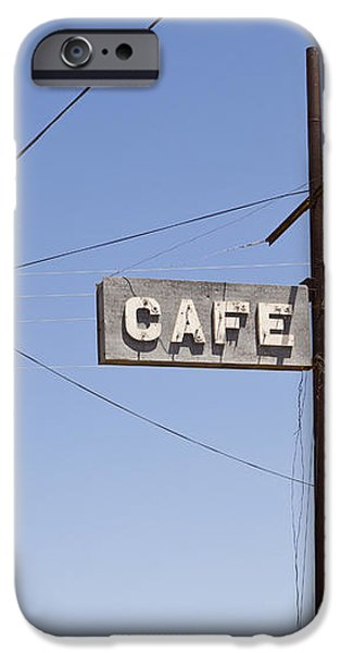 Cafe Sign Power And Telephone Cables iPhone Case by Bryan Mullennix