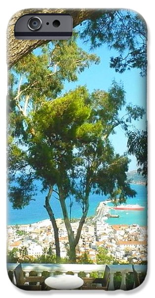 CAFE TERRACE AT BOHALI OVERLOOKING ZANTE TOWN iPhone Case by ANA MARIA EDULESCU