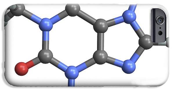 Biochemical iPhone Cases - Caffeine Molecule iPhone Case by Pasieka