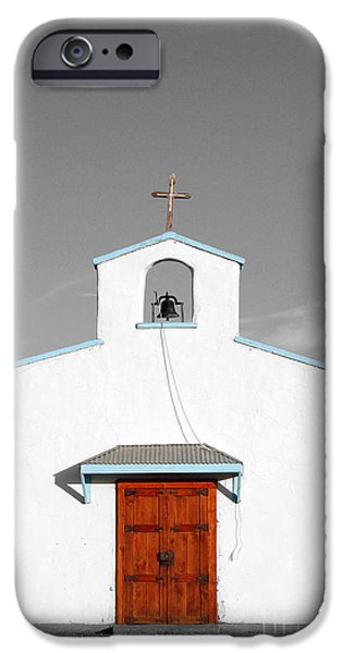 Calera Mission Chapel Facade in West Texas Color Splash Black and White iPhone Case by Shawn O'Brien