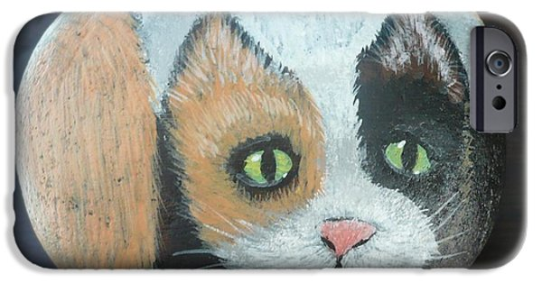 Fun Sculptures iPhone Cases - Calico Cat iPhone Case by Monika Dickson-Shepherdson