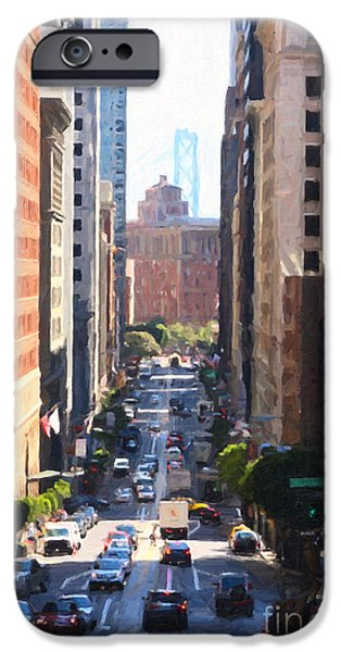 Bay Bridge Digital iPhone Cases - California Street in San Francisco Looking Down Towards The Bay Bridge 2 iPhone Case by Wingsdomain Art and Photography