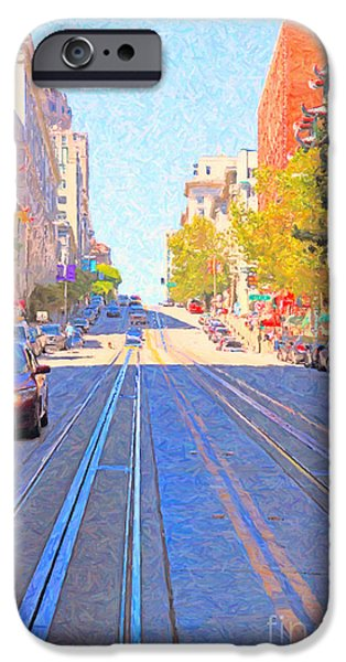 Sf iPhone Cases - California Street in San Francisco Looking Up Towards Chinatown 2 iPhone Case by Wingsdomain Art and Photography