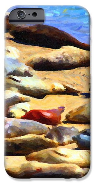 California Sunbathers . Harbor Seals iPhone Case by Wingsdomain Art and Photography