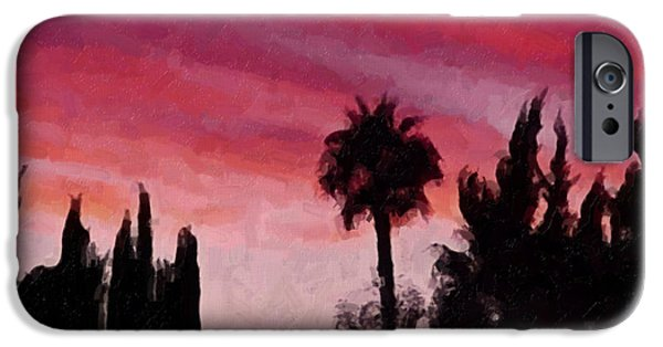 Palm Tree Greeting Cards iPhone Cases - California Sunset Painting 1 iPhone Case by Teresa Mucha