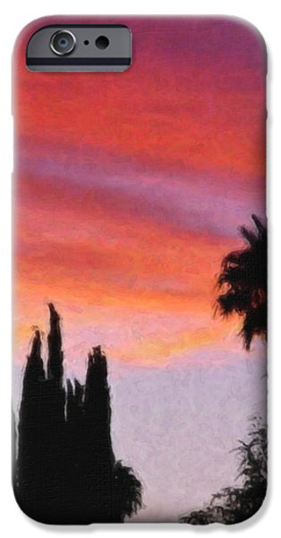 Palm Tree Greeting Cards iPhone Cases - California Sunset Painting 3 iPhone Case by Teresa Mucha