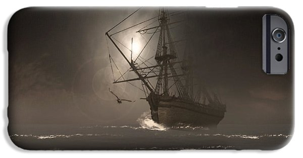 Tall Ship Digital Art iPhone Cases - Call Of The Hoot iPhone Case by Lourry Legarde