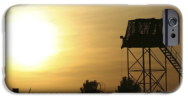 Iraq iPhone Cases - Camp Warhorse Guard Tower At Sunset iPhone Case by Terry Moore