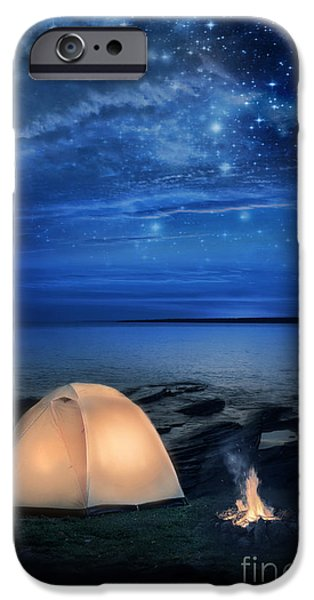 Camping Tent by the Lake at Night iPhone Case by Jill Battaglia