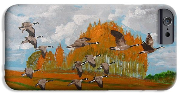 Canadian Geese Paintings iPhone Cases - Canadian Geese iPhone Case by Richard Le Page