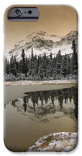 Canadian Rocky Mountains Dusted In Snow iPhone Case by Tim Fitzharris