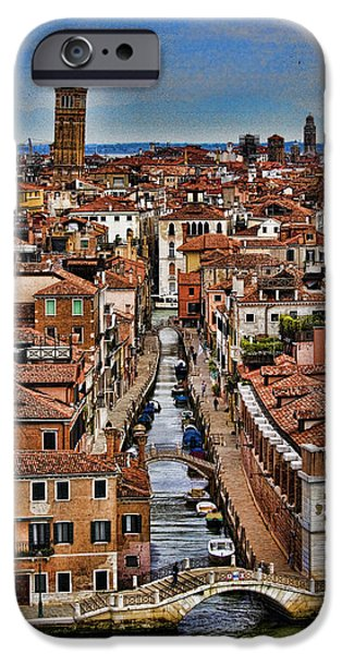 Venetian Canals iPhone Cases - Canal and bridges in Venice Italy iPhone Case by David Smith