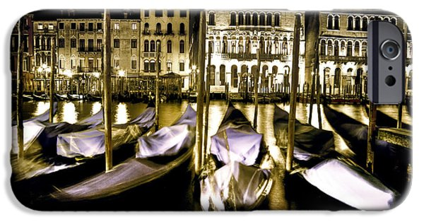 Night Lamp iPhone Cases - Canal Grande iPhone Case by Joana Kruse