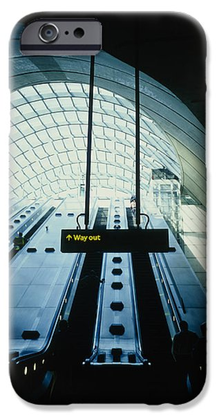 Technology iPhone Cases - Canary Wharf Tube Station iPhone Case by Carlos Dominguez