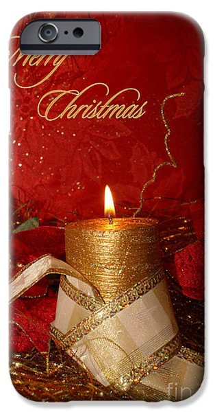 Christmas Greeting iPhone Cases - Candle Light Christmas card iPhone Case by Aimelle