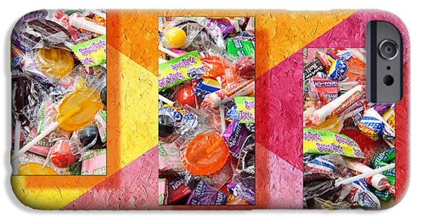 Celebrate Mixed Media iPhone Cases - Candy Is Dandy Triptych iPhone Case by Andee Design