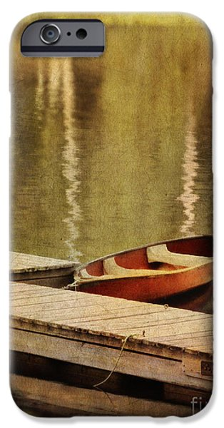Canoe iPhone Cases - Canoe at Dock iPhone Case by Jill Battaglia