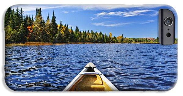 Canoeing iPhone Cases - Canoe bow on lake iPhone Case by Elena Elisseeva