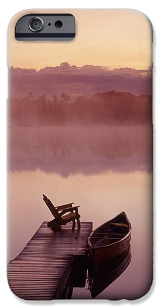 Canoe iPhone Cases - Canoe Dock, Pinawa, Manitoba iPhone Case by Dave Reede