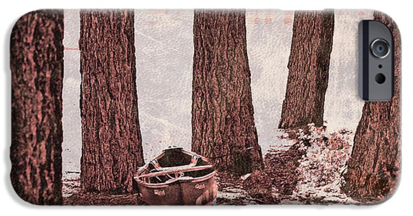Canoe iPhone Cases - Canoe in the Woods iPhone Case by Cheryl Young