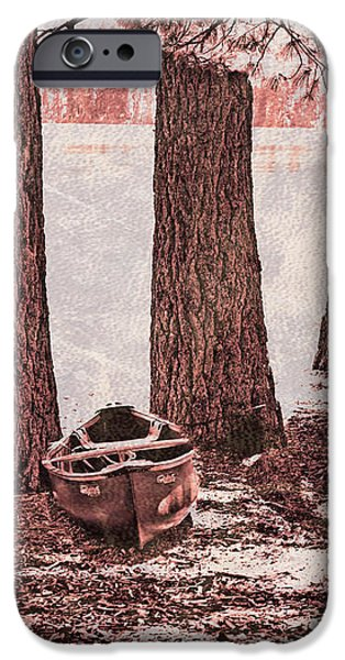 Canoe in the Woods iPhone Case by Cheryl Young