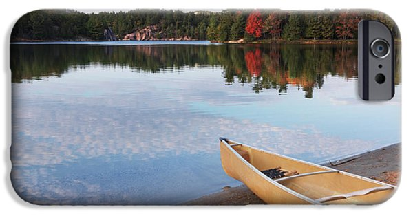 Canoe iPhone Cases - Canoe on a Shore Autumn Nature Scenery iPhone Case by Oleksiy Maksymenko